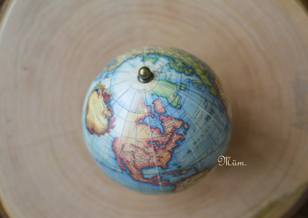 world globe & wood by delianne